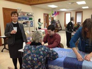 Pastor Diane chatting with Garrett, Shari and Judy.