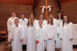 On May 3rd, these students celebrated their Confirmation. Back row: Pastor Kristin, Ethan, Jordan, Darcy, Kaleb, and Larissa. Front row: Brandon, Makel, Ben, Maddy, and Hope.