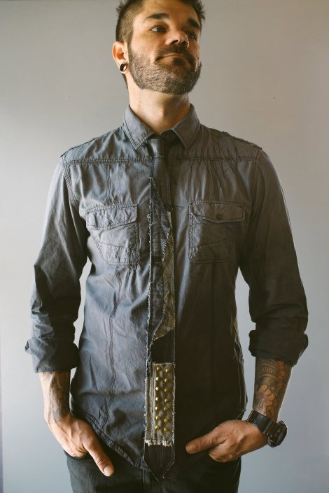 Multimedia Tie on Fullbody Grey Button-down Shirt by Joanna Coblentz