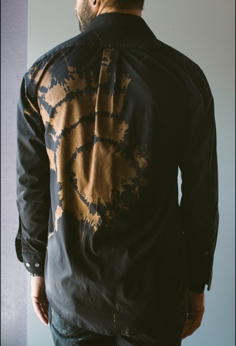 Back of Black Long Sleeve Shirt with Gold Tie-dye by Joanna Coblentz