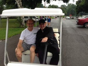 Incoming Parish Pastoral Council Chair Bill Gustafson is transported by our new Pastor, Fr. Paul Bonnacci