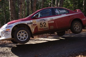 Shepherd with co-driver Karen Wagner drove this Dodge Neon SRT 4 in the 2010 Lake Superior Performance Rally (Photo courtesy of Jerry Winker/ComicCozzie Motorsport Photography)