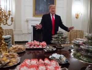 Donald Trump welcomes National Championship Winners Clemson Tigers to White House with a fast food feast