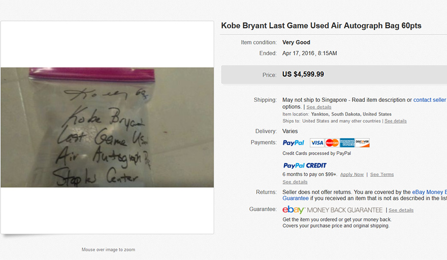 People are Selling Air from Kobe Bryant's Last Game