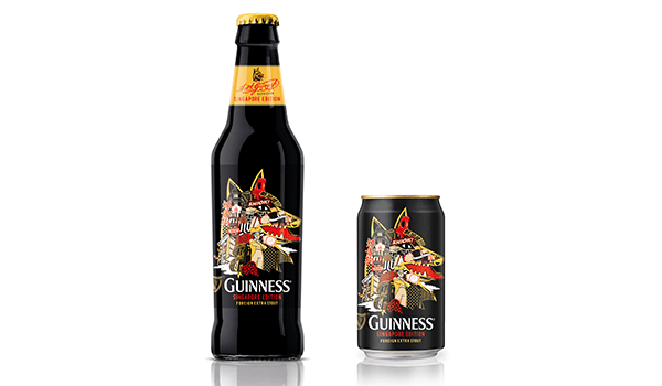 Guinness Foreign Extra Singapore Limited Edition Bottle and Can by Ben Qwek