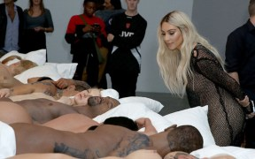 Kim Kardashian Admires Her Wax Figure at Kanye West's Art Exhibition