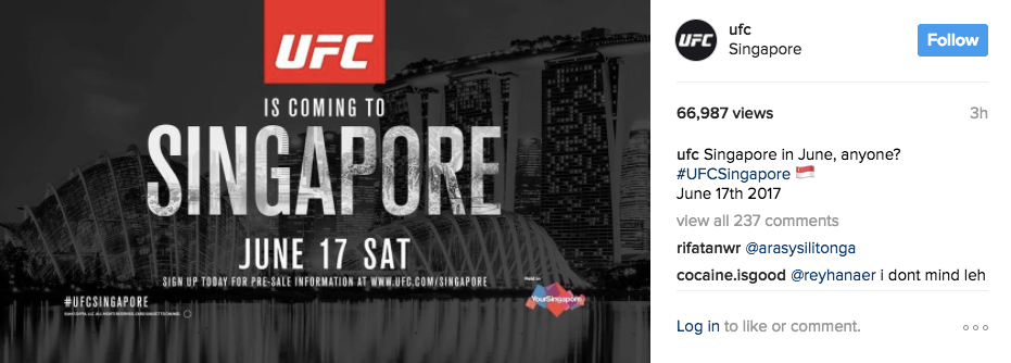 UFC comes to Singapore on 17 June 2017 / Photo: Instagram