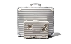 rimowa x daniel arsham classic attache and eroded suitcase sculpture