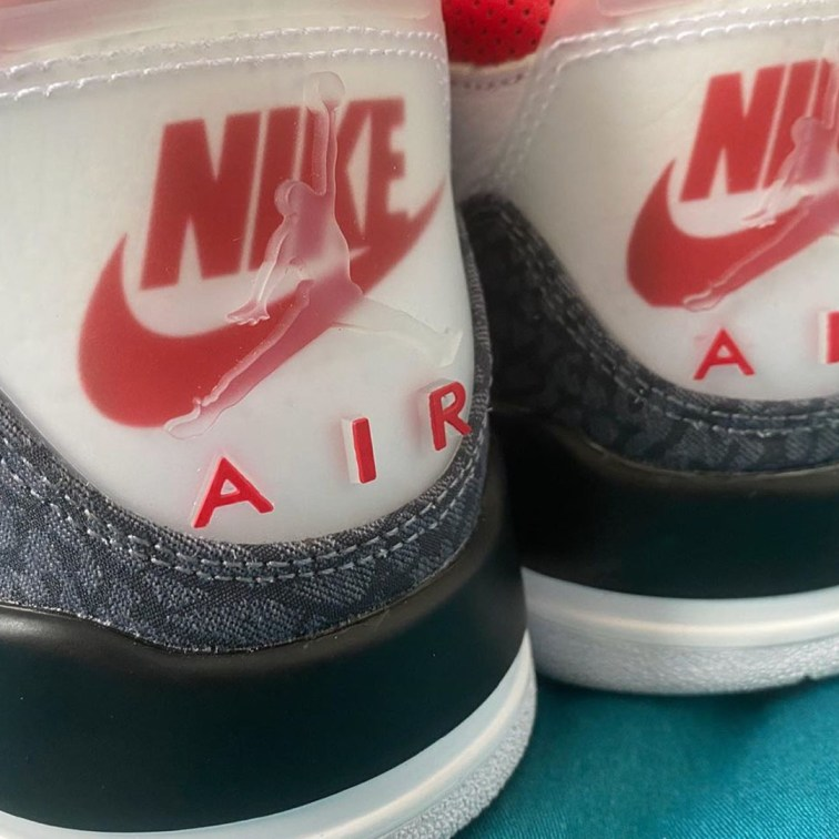 "Air Jordan 3 SE ""Fire Red"" heel tab close up"