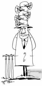 Cricket umpire with pile of helmets.