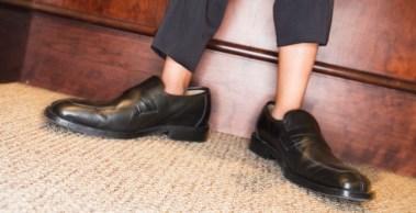 Boy Wearing Men's Dress Shoes and Suit
