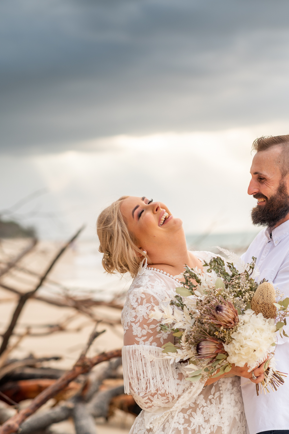 Kate and Ben | Amity Point intimate wedding | tipi on the beach | destination wedding