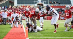 Stony Brook University running back James Kenner gets tackled by University of Richmond Spiders defensive back Justin Grant just shy of the end zone with ten minutes remaining in the third quarter of a home game on Saturday, Nov. 9, 2013 at Stony Brook University's Kenneth P. LaValle Stadium. Stony Brook went on to score a touchdown in the next play. Stony Brook lost 39-31. Photo by Wasim Ahmad.