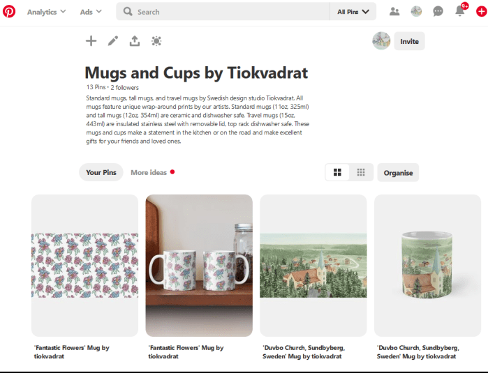 The completed Mugs and Cups by Tiokvadrat board with pins