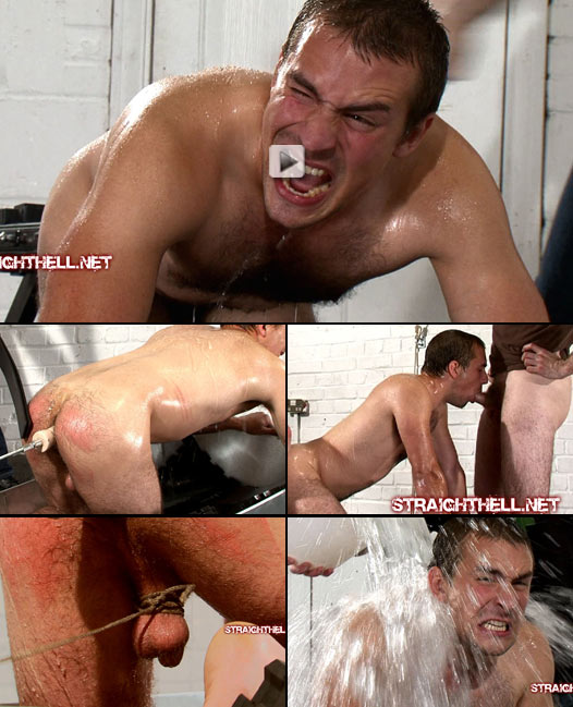 hetero stud doused with ice and subjected to dildo training