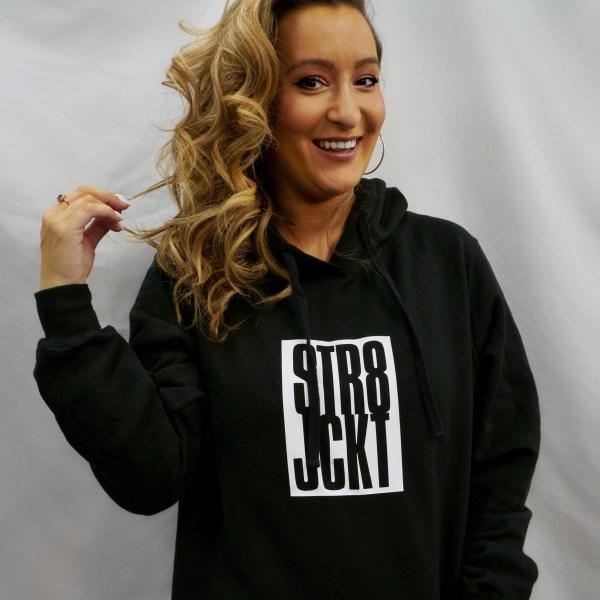 """Super comfy black """"STR8JCKT"""" drawstring hoodie"""