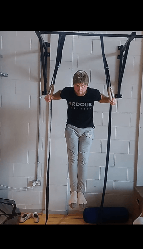Wide ring muscle up transition shot