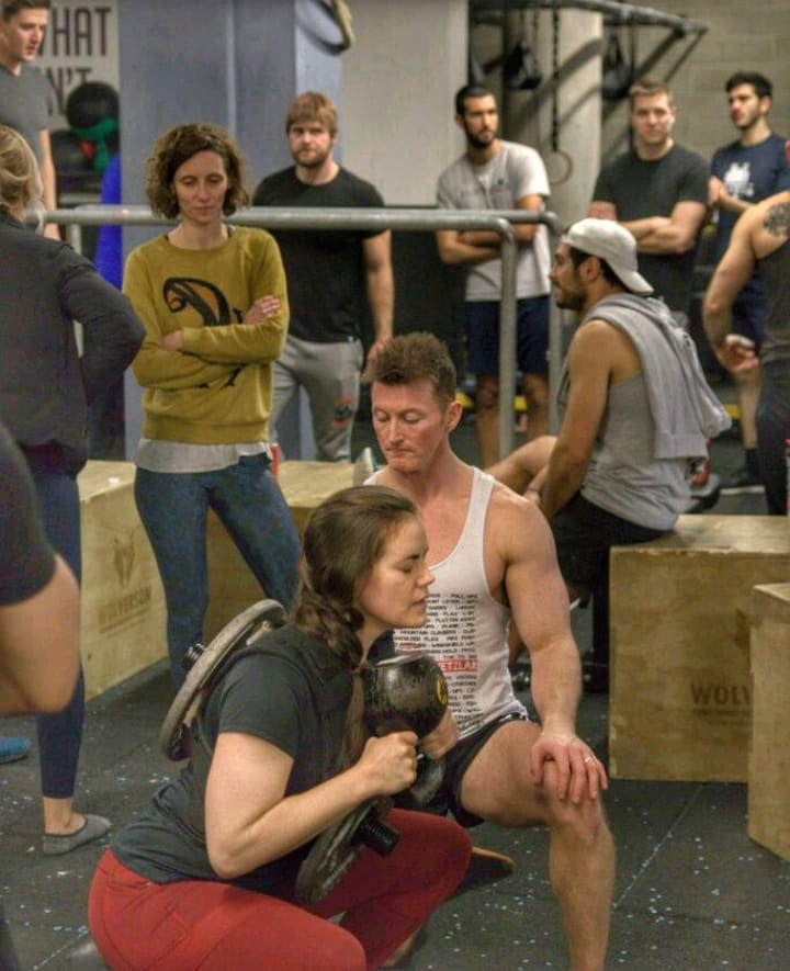 Goblet squat action shot crossfit aldgate DEC 2019