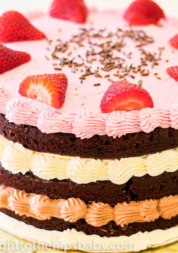 "Neapolitan ""Naked"" Layer Cake"