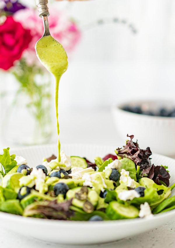 Blueberry & Goat Cheese Salad with Creamy Basil Dressing