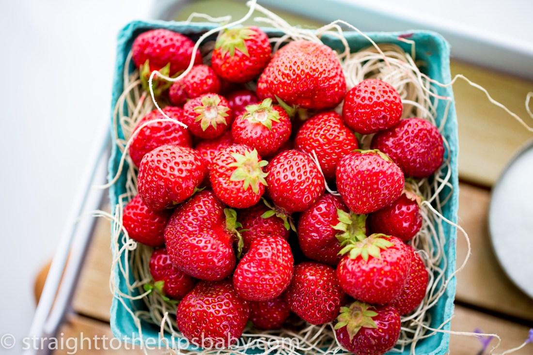 fresh summer strawberries in a basket