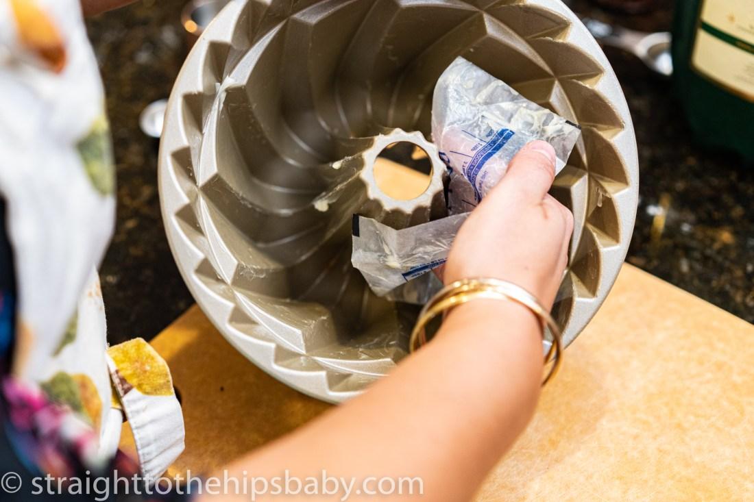 greasing a bundt pan