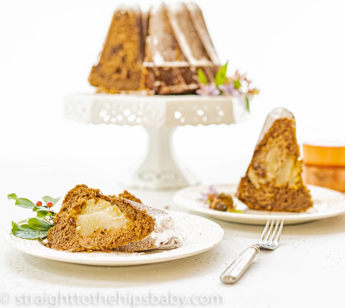 slices of fresh vanilla chai pear cake on plates