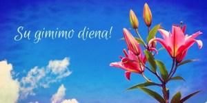 gimtadienio atvirukas su gėlėmis