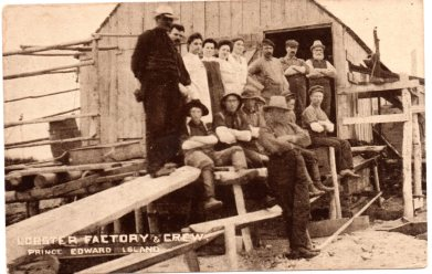 Lobster Factory and Crew. Warwick Bros. & Rutter card # 5253. Photo by W.S. Louson.