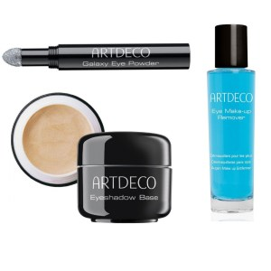 artdeco eyeshadow base + galaxy eye powder + makeup remover