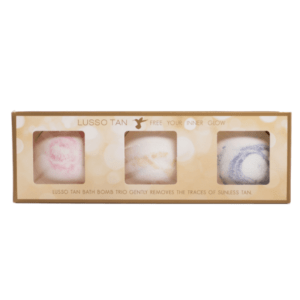 lusso tan bath bomb trio set