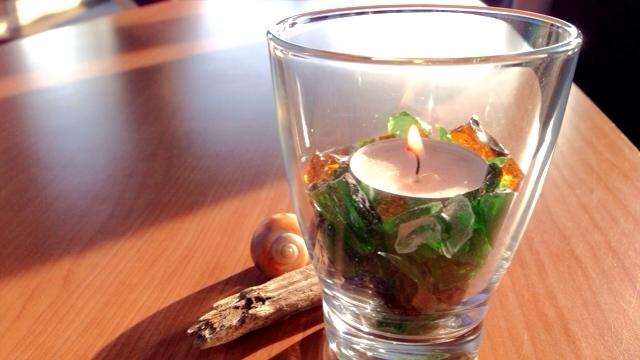 glasteelicht - Glasscherben Teelicht