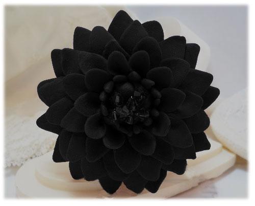 Large Black Chrysanthemum Brooch Large Black Flower