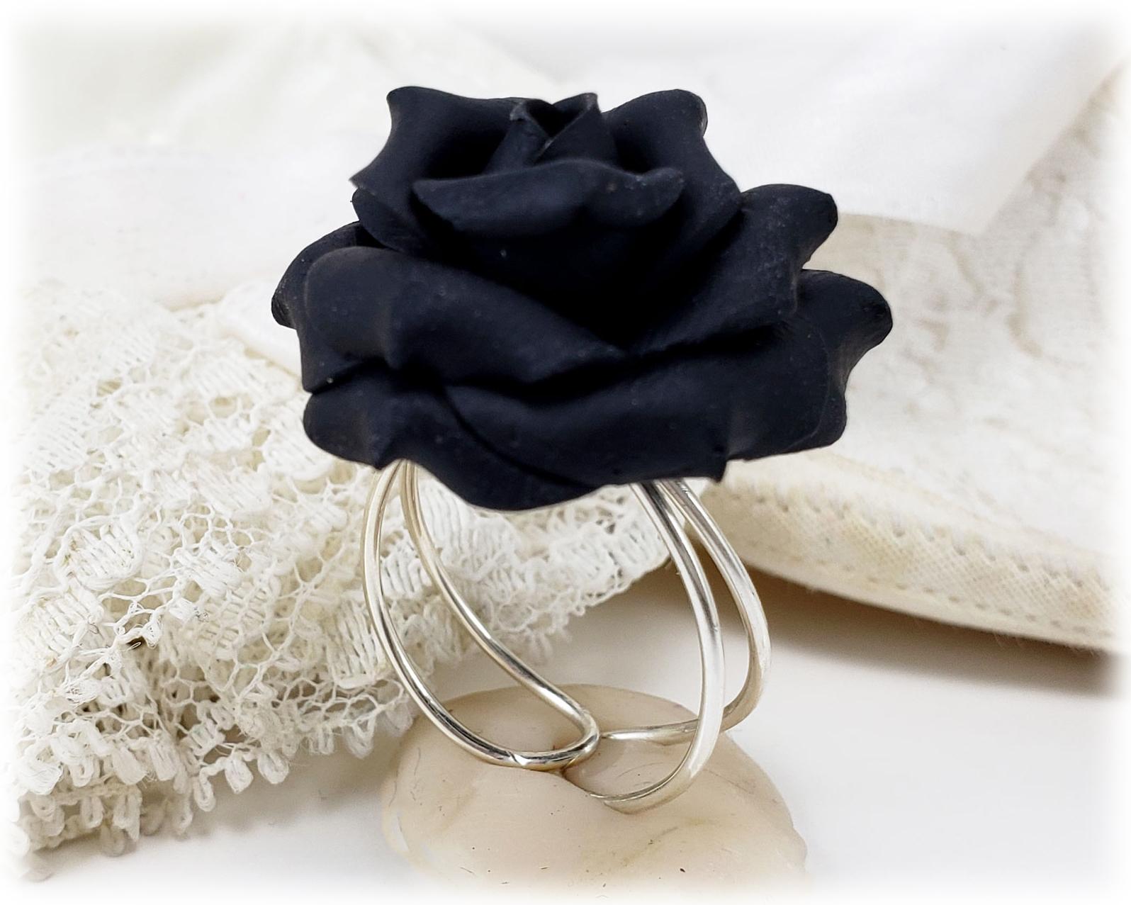Large Black Rose Ring Large Black Flower Ring Stranded