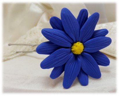 Blue Aster Hair Pins   Blue Aster Hair Clips Blue Aster Hair Flower