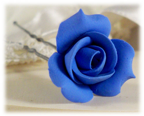 Blue Small Rosebud Hair Pin Clip Small Blue Wedding Hair