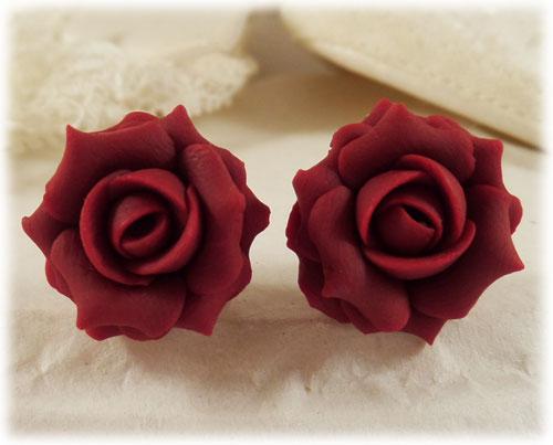 Maroon Red Rose Stud Earrings Amp Clip On Earrings