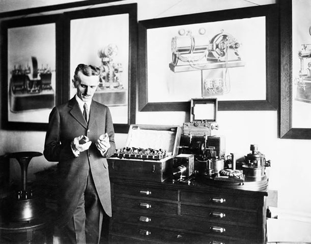 in his office