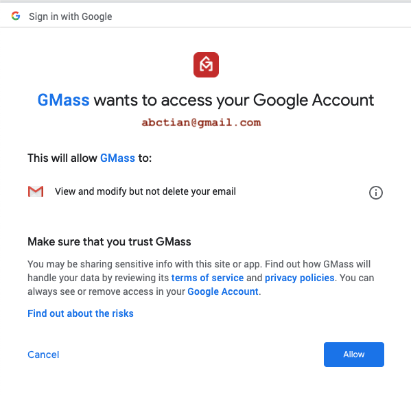 connect  Gmass with gmail