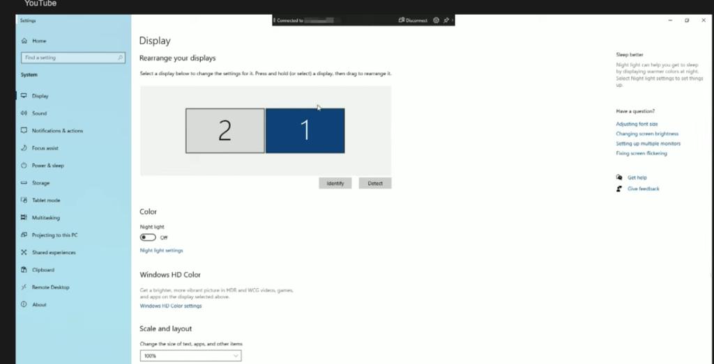 screen share setting
