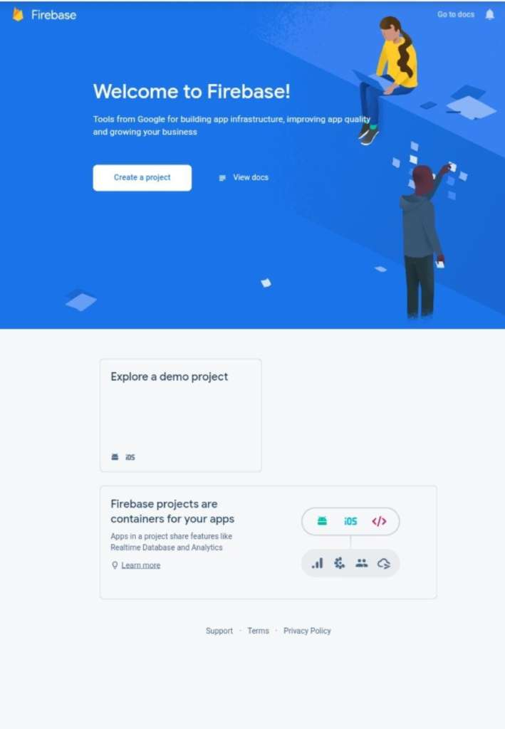 firebase welcome page