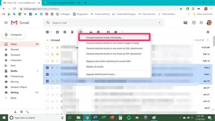 Forward emails  individual