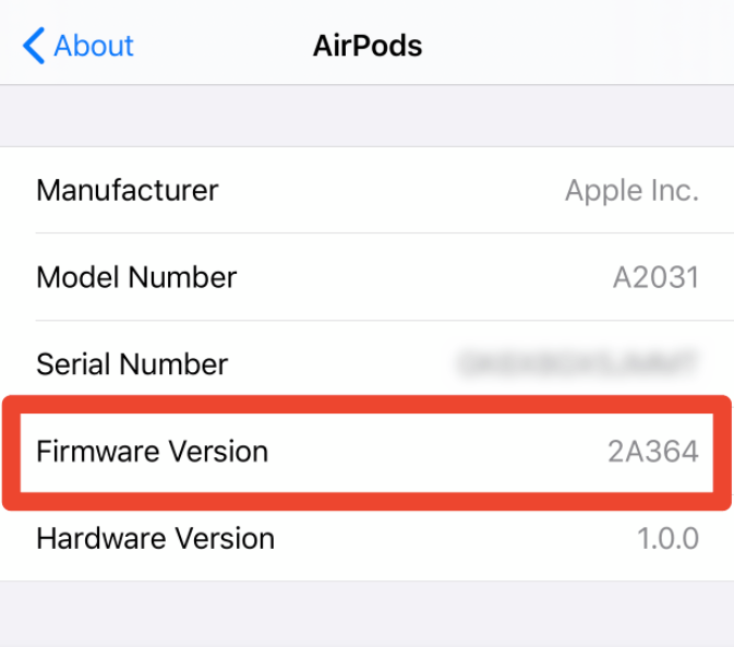 firmware version airpods