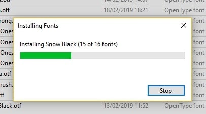 Installing font file in windows