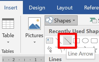 select line arrow from shapes