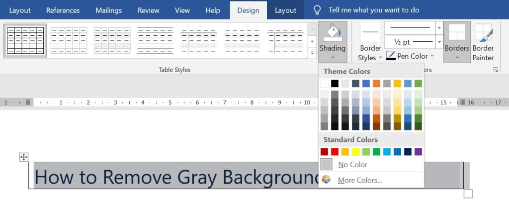 select no color from shading color picker icon