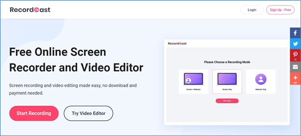 Record Cast Free online screen recorder & video editor