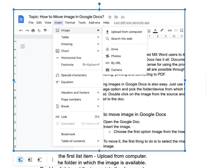 upload image in google doc