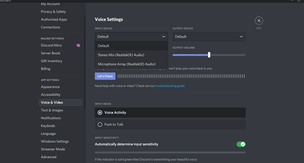 select input and output device under voice settings