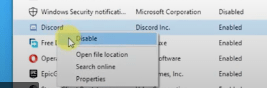 select disable from the dropdown